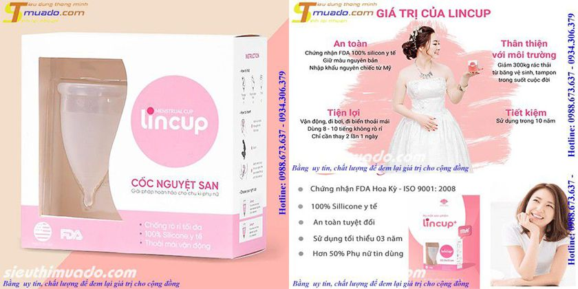 Cốc nguyệt san lincup menstrual cup made in usa